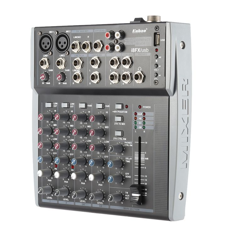 8 Channels 3-Band EQ Audio Music Mixer Mixing Console with USB XLR LINE Input 48V Phantom Power for Recording DJ Stage Karaoke