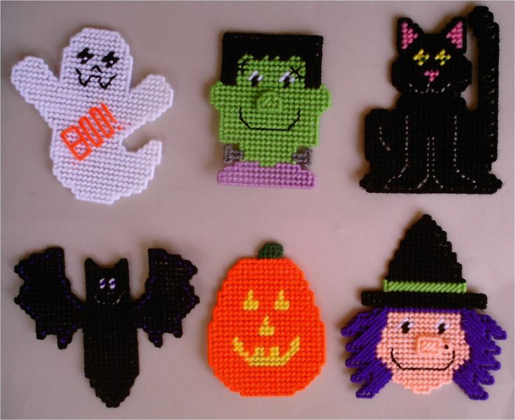 Free Plastic Canvas Magnet Patterns | Plastic Canvas-Halloween Character Magnets Plastic-Canvas-Kits.Com