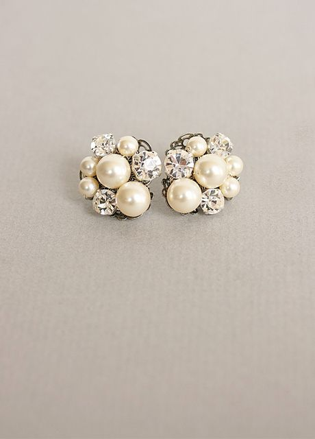 pearl/diamond cluster earrings