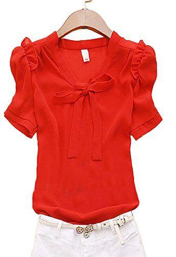 【FanShou Fashion Store】 かわいい ブラウス 半袖 シャツ パフ袖 蝶結び レディース ブラウス Red L FanShou Fashion Store http://www.amazon.co.jp/dp/B014IXOSD4/ref=cm_sw_r_pi_dp_hdHawb0NXBAEC