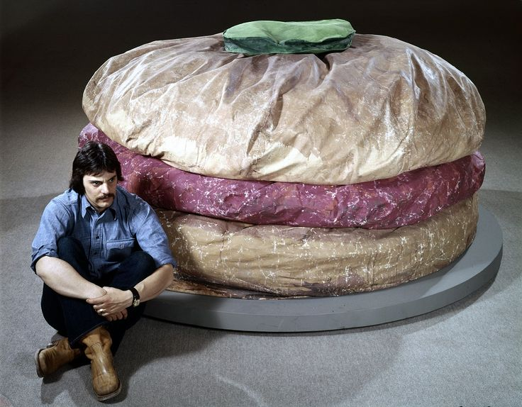 Claes Oldenburg with Floor Burger, 1962 | Art with ...