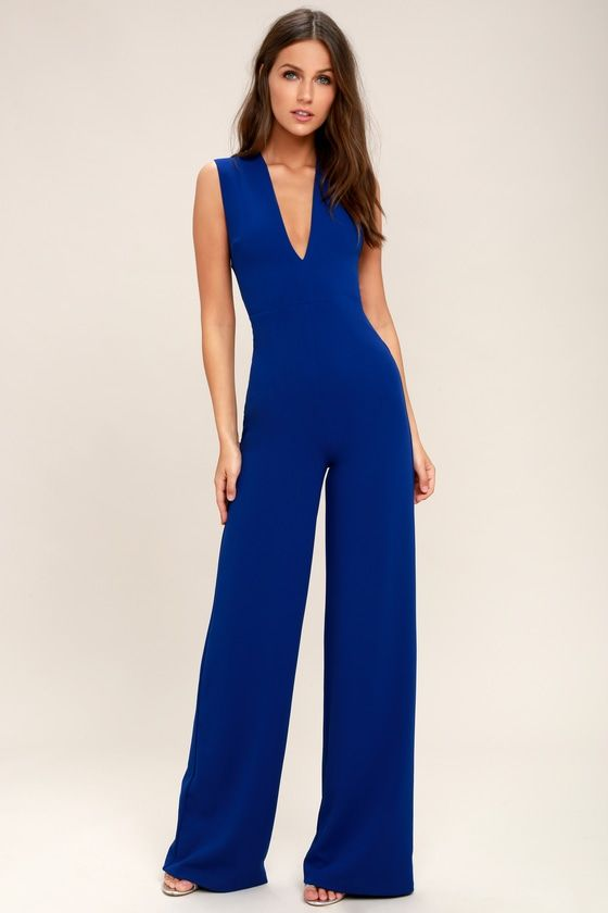 3d03c9acc0e Your admirers will have a lot to say about their love for you in the Thinking  Out Loud Royal Blue Backless Jumpsuit! Medium-weight knit is formed to a ...