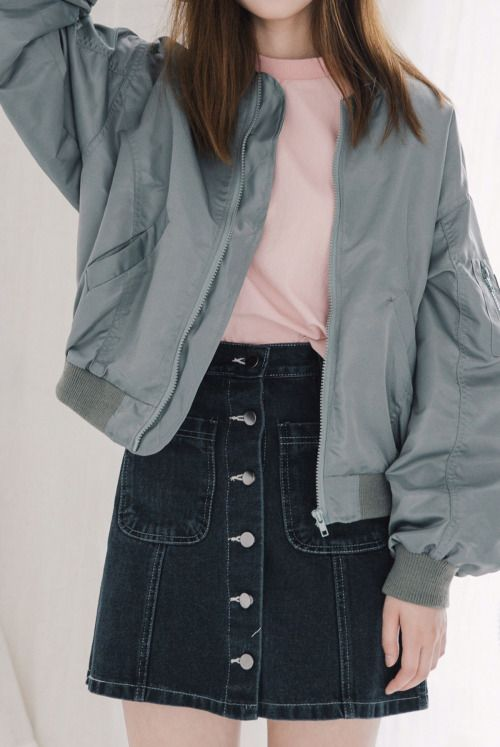 I want this kind of jacket + button up skirt!
