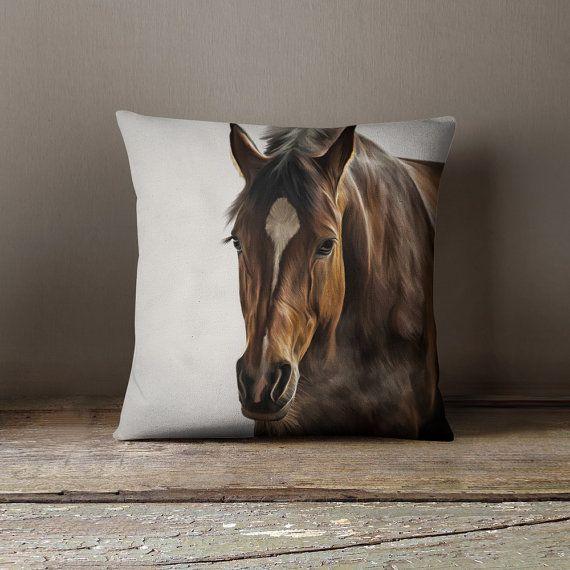 Horse Pillow Animal Gift Cool Pillows Teen by wfrancisdesign