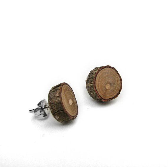Rustic Magnolia Twig Wooden Stud Earrings by Tanja by tanjasova, $9.90