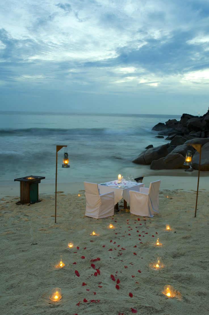 For the ultimate in intimate dining, sit down at dusk at your private table-for-two on the #beach at Banyan Tree, #Seychelles. #GourmetAfrica #Africa #cuisine #island #beach