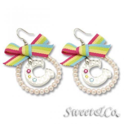 Rainbow Pearly Hoop Swarovski `C` Earrings Silver - One Size