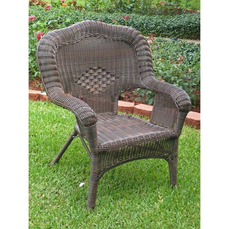 <li>Entertain your outdoor guests with this chair <li>Patio furniture is constructed of woven heavy duty 4 mm PVC resin <li>Chair also has a powdercoated steel frame