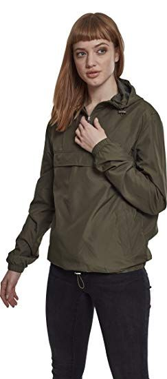 347032571f1875 Urban Classics Damen Übergangsjacke Ladies Basic Pull-Over Jacket, leichte  Streetwear Schlupfjacke, Windbreaker