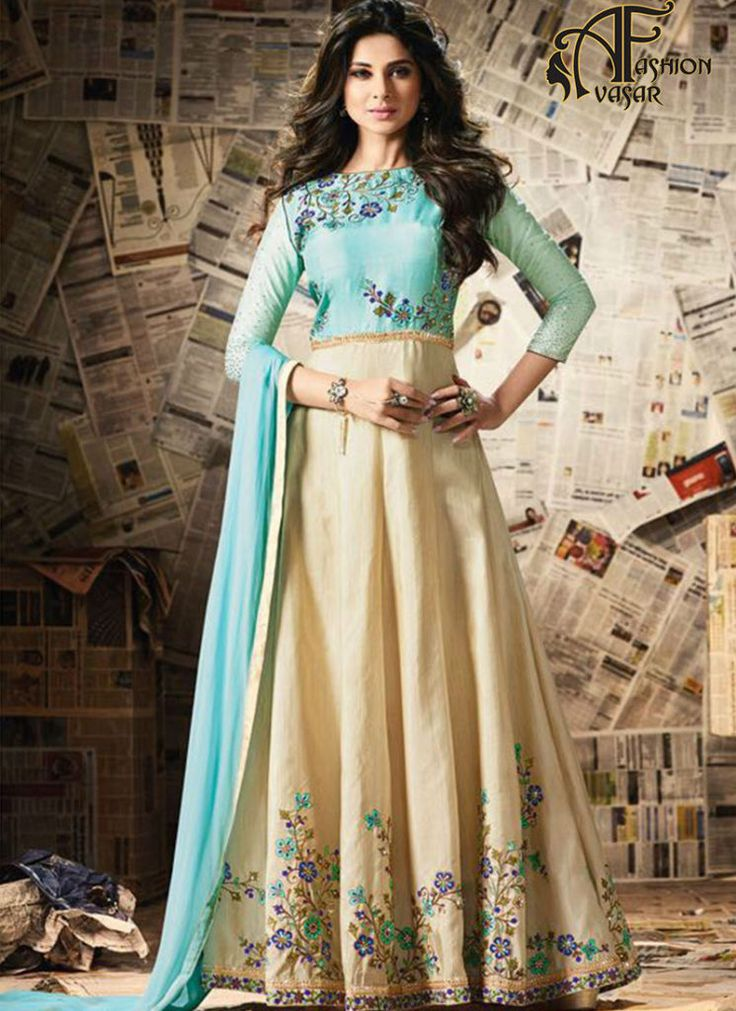 Long Anarkali Cream Silk Jennifer Winget Salwar Suit