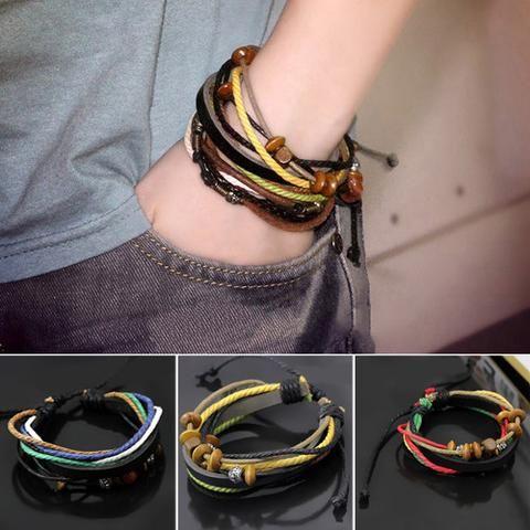 Men's Multilayer Genuine Leather Rope Bracelet