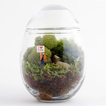 Kind of obsessed with this Gentle Reminder Terrarium—which features a little figurine holding an I Love You flag.