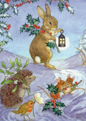 MOLLY-BRETT-FORAGING-FOR-CHRISTMAS-CHRISTMAS-CARD-HEDGEHOG-MOUSE-RABBIT
