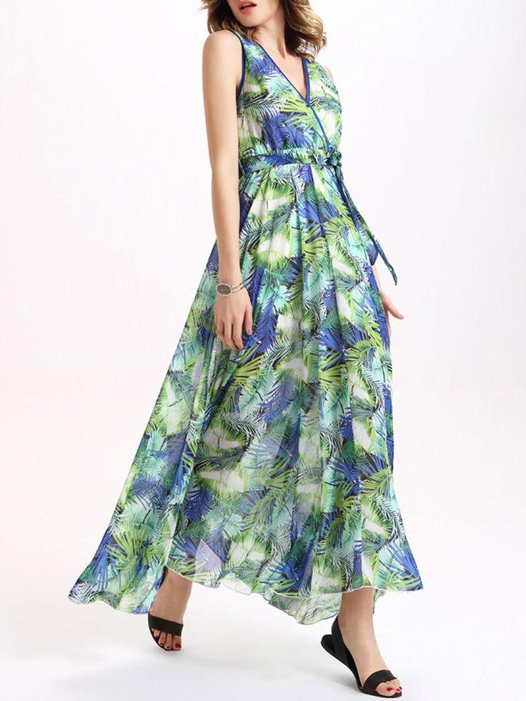 #AdoreWe #StyleWe Designer Maxi Dresses - Designer CICI WANG V Neck Swing Sleeveless Boho Chiffon Maxi Dress - AdoreWe.com