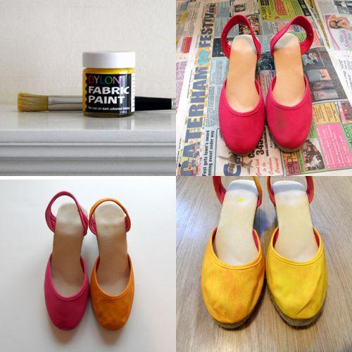 Espadrilles stages Dylon paint