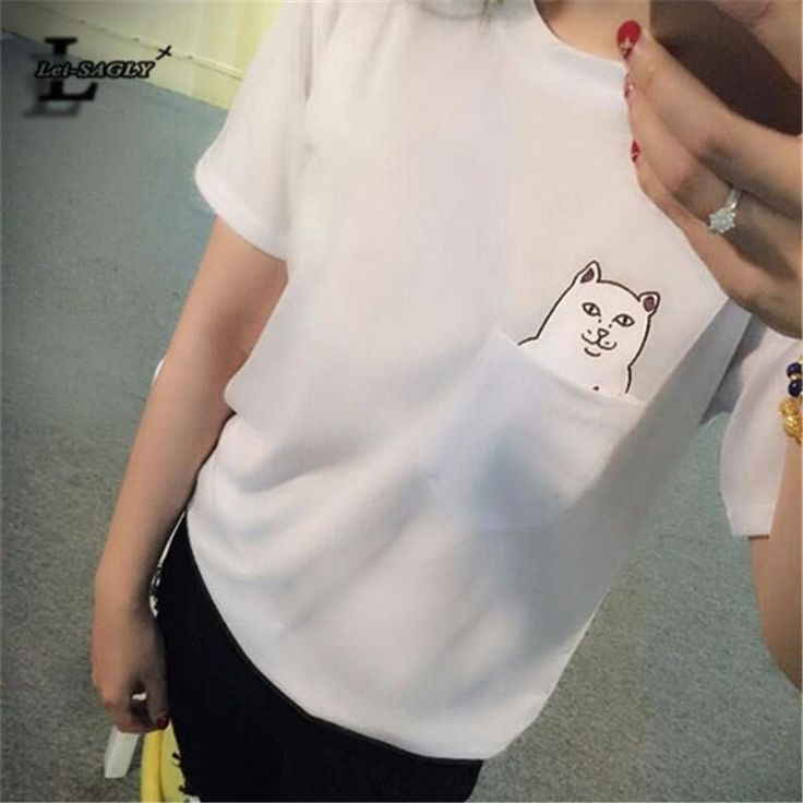 Lei-SAGLY 2018 New Fashion Pocket Harajuku Style T Shirts Wild Cat Lovers Big Yards Women Wear Short Sleeve Casual T-Shirt H149