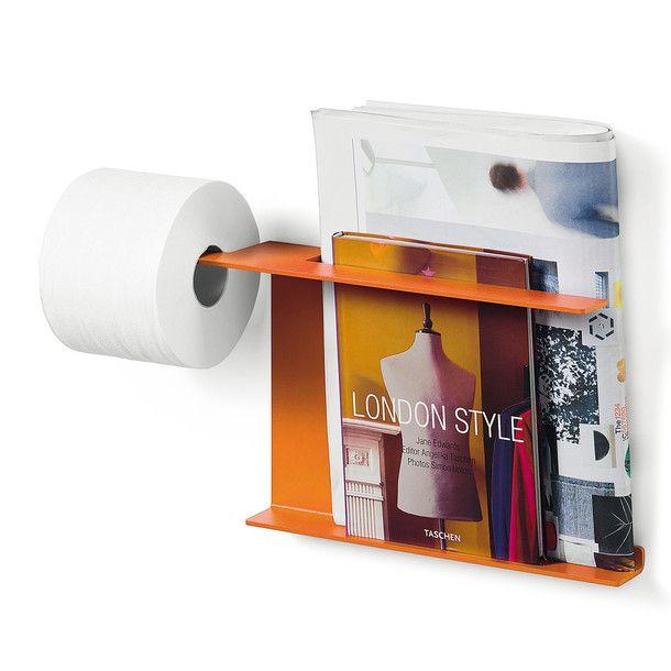 Piega Toilet Roll Holder - http://www.lineabeta.com/catalog/article/piega-en-GB/toilet-paper-and-magazines-holder-dust-painted-aluminium-orange