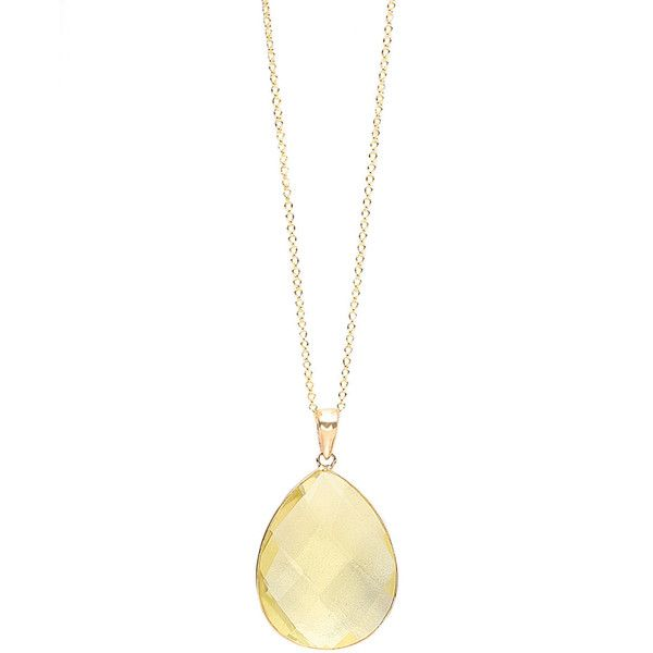 Effy Collection 14 Kt. Yellow Gold Lemon Quartz Pendant Necklace ($475) ❤ liked on Polyvore