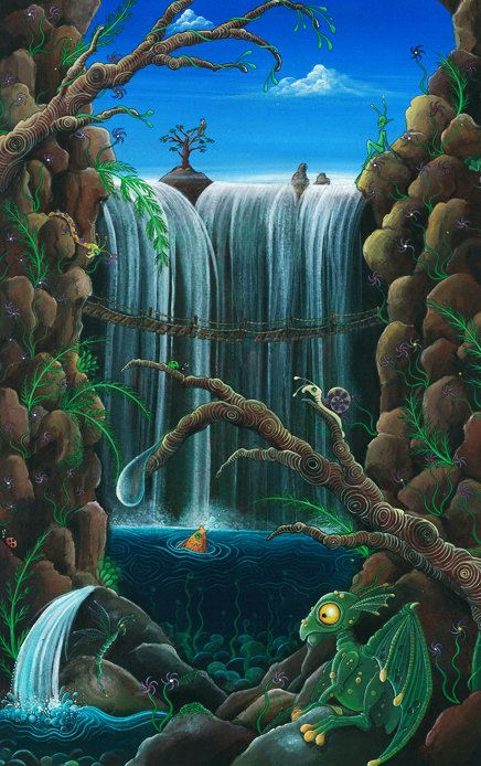 Original acrylic painting Fantasy otherworldly by feythcrafts, $350.00
