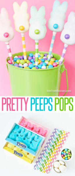 Pretty Peeps Pops. These are so easy to make and super cute.  They would be adorable on top of a cake or wrapped up as favors for Easter!