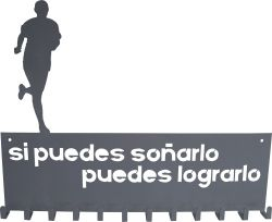 Colgador de medallas personalizado con un corredor. Si puedes soñarlo puedes lograrlo. Para runners.