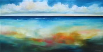 #AbstractLandscape #ModernSEascape #Seascape #Beachpainting #Originalartforsale at #UGallery.com | #Beach Colors II by Nancy Hughes Miller | $1,250 | oil painting | http://www.ugallery.com/oil-painting-beach-colors-ii #BeachHouseDecor #HomeInteriors #InteriorDesign #cobaltblue #oceanPainting #Clouds