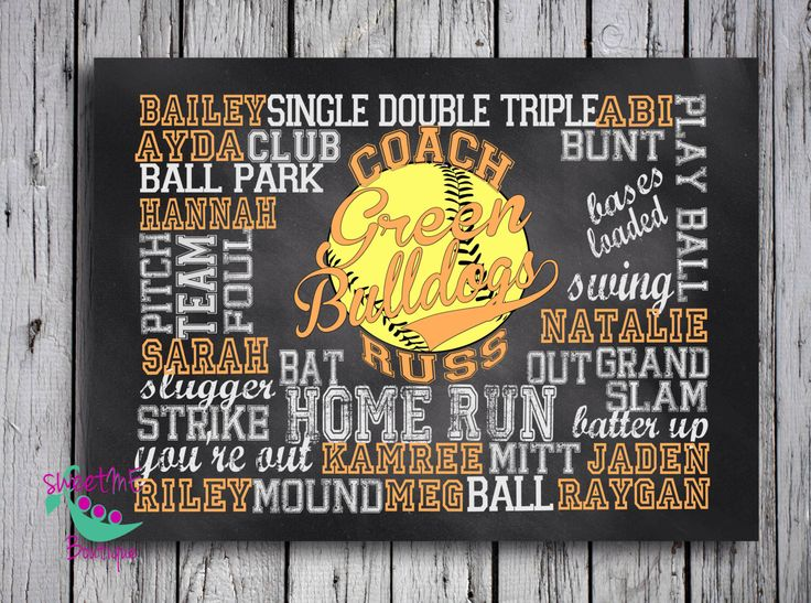 Customized SOFTBALL coach gift, digital image, personalized softball gift, coach art, coach print, chalkboard art, digital image by sweetMEboutique on Etsy https://www.etsy.com/listing/205952120/customized-softball-coach-gift-digital
