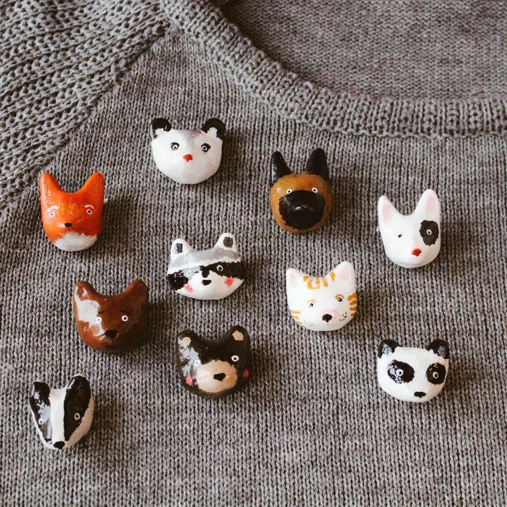 Brooches by Grecha: fox, opossum, german shepard, bullterrier, racoon, cat, panda, bear, badger. Hand made brooche.