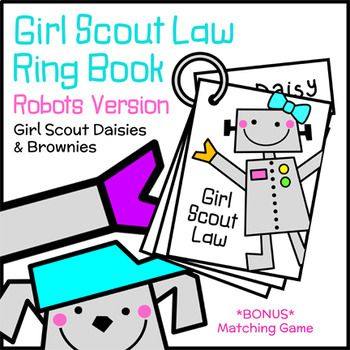 Girl Scout Law Ring Book - Robots Version - Girl Scout Daisies & Brownies - Robotics Badge - Daisies and Brownies learn and practice the Girl Scout Law with this appealing robots-themed ring book. Girls may complete the book one or two pages at a time or the entire 12-page book at once. Girls use the books to help them recite the Law at the beginning of troop meetings or to practice at home.