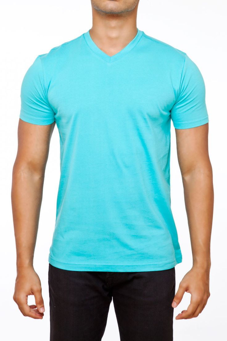 #FightingFame Vibrant Feel Turquoise Blue V-Neck. @ FightingFame.com