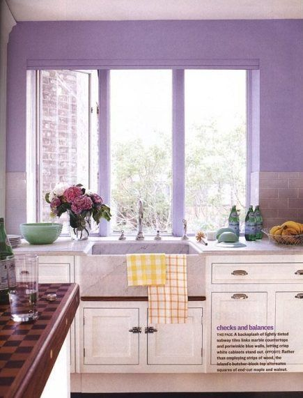 Lavender subway tiles in a white Christopher Peacock kitchen 88 best Pretty Purple Kitchens images on Pinterest