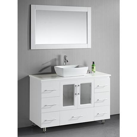 "$1,430 Stanton 48"" Wide Single Vessel Sink White Vanity Set"