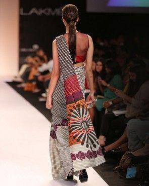 Silk Satin Sari with Digital Print