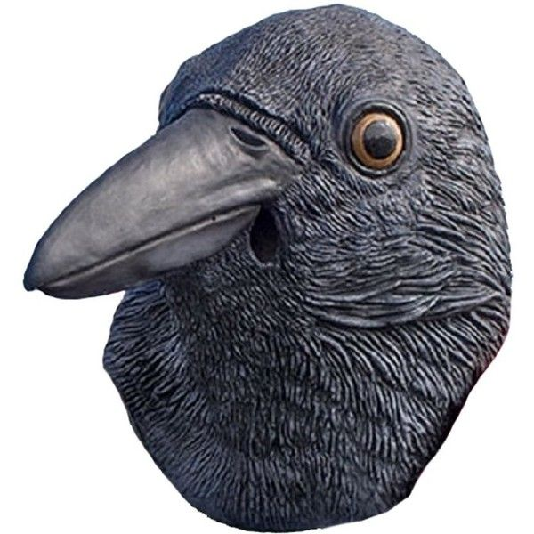 Realistic Black Crow Mask Full Face Rubber Latex Costume Mask ($49) ❤ liked on Polyvore featuring costumes, latex halloween costumes and latex costumes