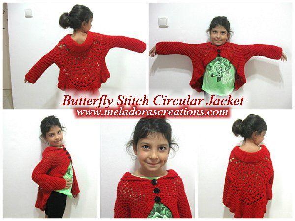 Meladoras Creation – Butterfly Stitch Circular Jacket – Free Crochet Pattern