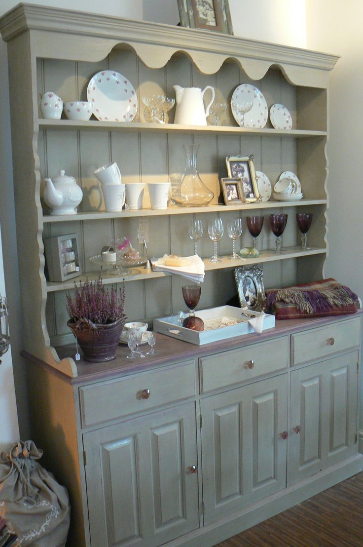 Annie Sloan Paint - Country grey - with stained top - for pine breakfront