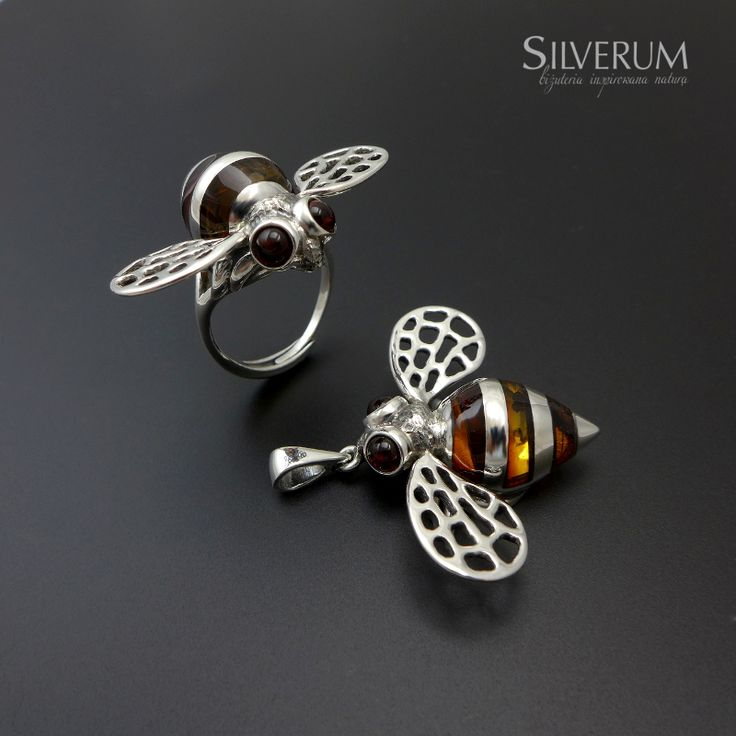 bombus - trzmiel wisiorek i pierścionek ze srebra ... www.silverum.com.pl