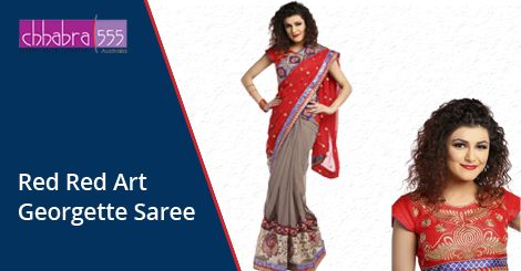 Red Red Art Georgette Saree in $46.95 AUD with Responsive Customer Service enquiries responded within 24 hours from Chhabra555 in Australia.