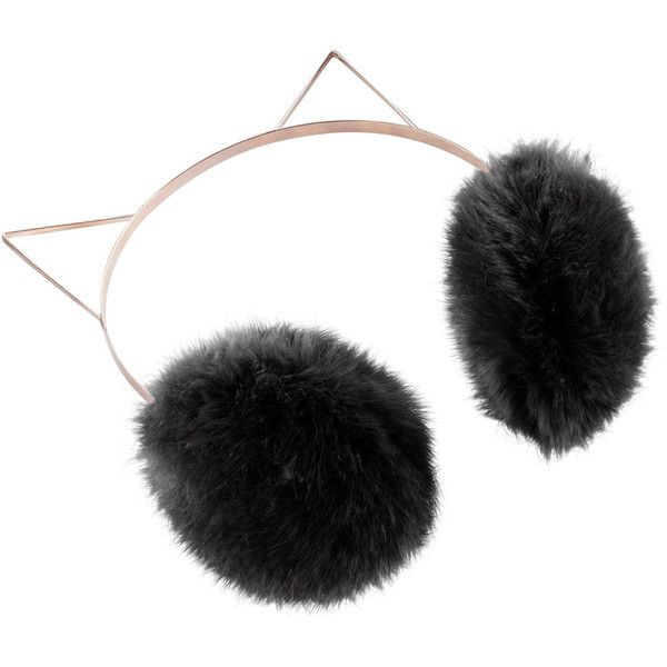 Women's LC Lauren Conrad Faux-Fur Kitty Earmuffs ($32) ❤ liked on Polyvore featuring accessories, black, faux fur earmuffs and lc lauren conrad