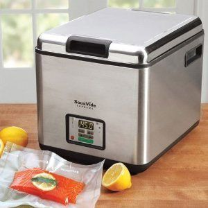 I can't wait for sous vide machines to get a wee bit more affordable.  This one is, alas, $399.