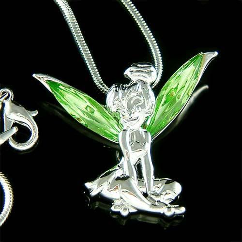 Green Swarovski Crystal Fairy TINKERBELL Tinker Bell Angel Wings Pendant Necklace Christmas Gift new