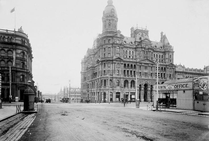 The corner of King and Collins Sts, Melbourne, including the Federal Coffee Palace - via SLV