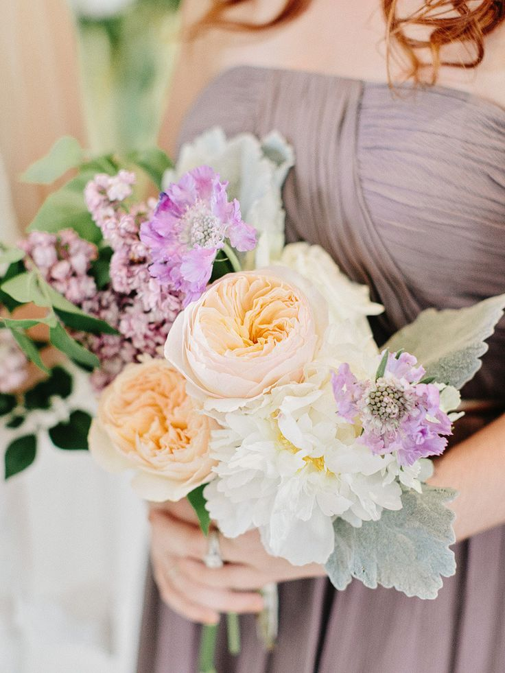 Donna Morgan short Grey Ridge bridesmaid dresses // White and grey elegant wedding // Grey bridesmaid dress and purple wedding flowers // Photo by Amy Arrington Photography