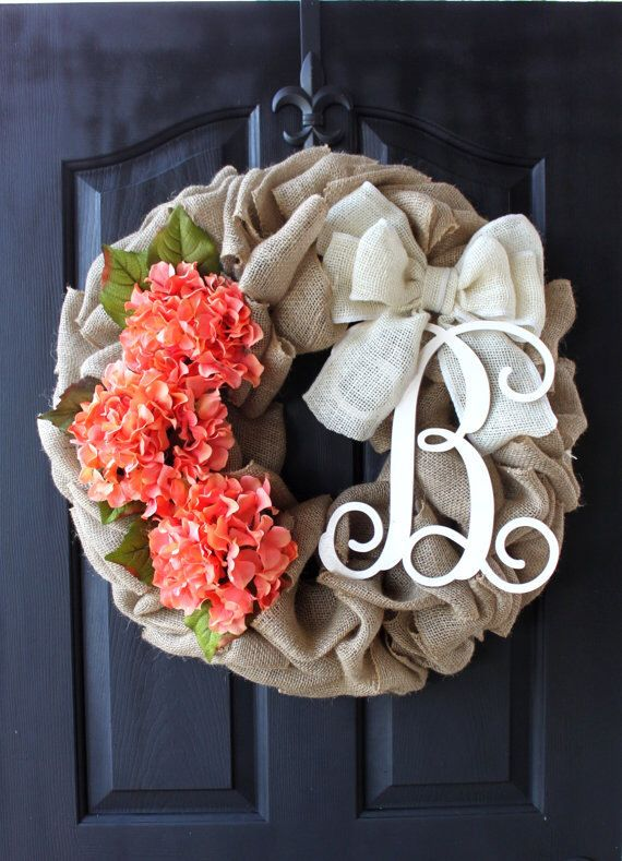 Burlap Wreaths  Spring wreath Mothers Day Gift ireaths -  Spring Wreath - hydrangea Wreath Summer Wreath for door - Summer Wreaths - by OurSentiments on Etsy https://www.etsy.com/listing/181008859/burlap-wreaths-spring-wreath-mothers-day                                                                                                                                                                                 More