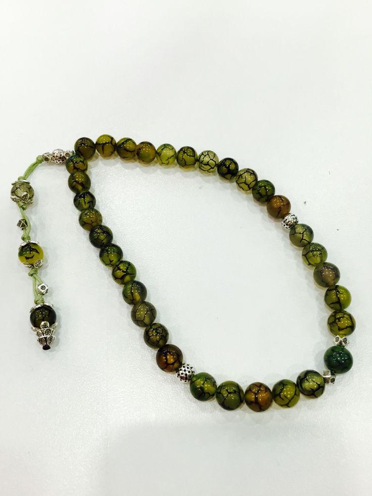 Yeşil Akik, Siyah desenler, ve sarmal başlıklı Güzel bir Tesbih