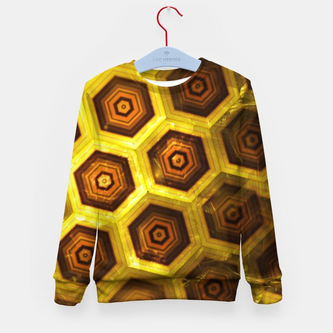 Gold Honeycombs Kid's Sweater, Live Heroes @liveheroes by @photography_art_decor. All product: https://liveheroes.com/en/brand/oksana-fineart #fashion #clothing #online #shop #gold #golden #honeycombs #honey #bee #summer #graphic #design #geometry #geometric #yellow #metalic #bright #shine #pattern #psychedelic #abstract #metalic #sun #abstract #briht #pattern  #trendy #stylish #fashionable #modern #awesome #amazing #clothes
