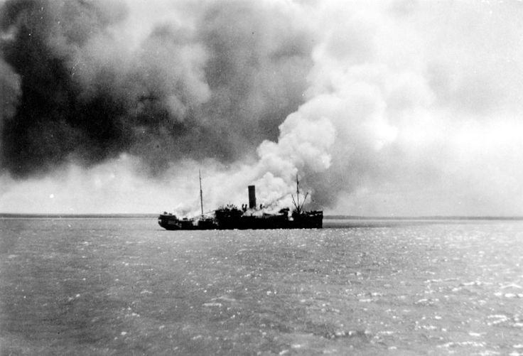 The vessel Zealandia was blown up in Darwin harbour in the aftermath of the bombing of Darwin, 19 February 1942.