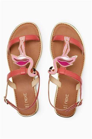 299eecb13 Multi Flamingo Leather Appliqué Sandals