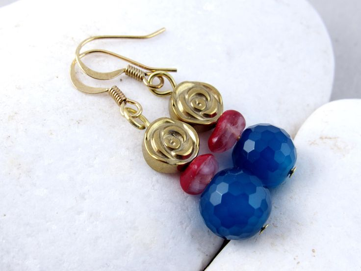 Royal Blue Faceted Agate Gem, Navy Round Bead, Gold Plated, Red Glass Bead, Flower Hematite,Natural Gemstone,Luxury,Feminine, Christmas Gift by RubiesAndBees on Etsy