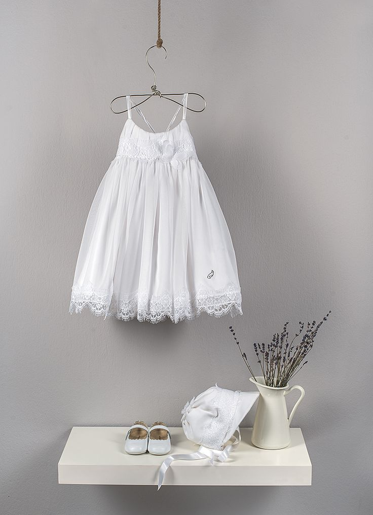 White empire backless dress from silk muslin. Draped bust decorated with French Chantilly lace style, cross braces satin cords and laser cut butterflies   White hat from pure silk muslin decorated with French Chantilly lace style